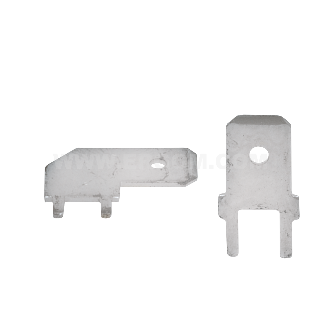 Male push-on connectors soldered to printed circuit boards, K type