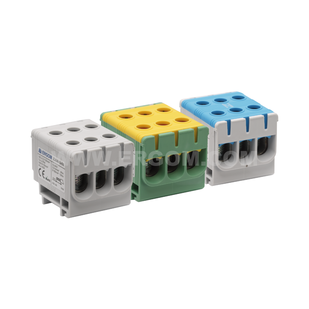 Triply-circuit connector, ZJUN-3x50 type: for 50 mm² wires   1000V