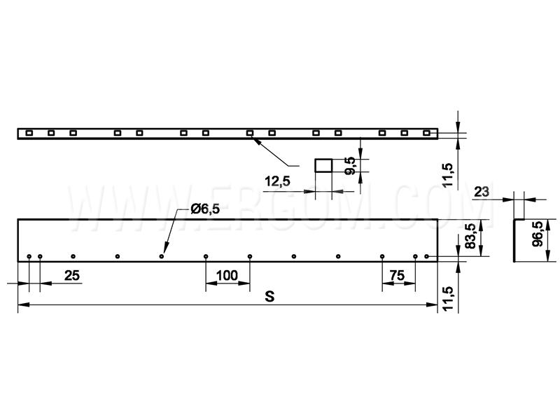 Listwy osłony modułowej - zestaw RWLM schemat
