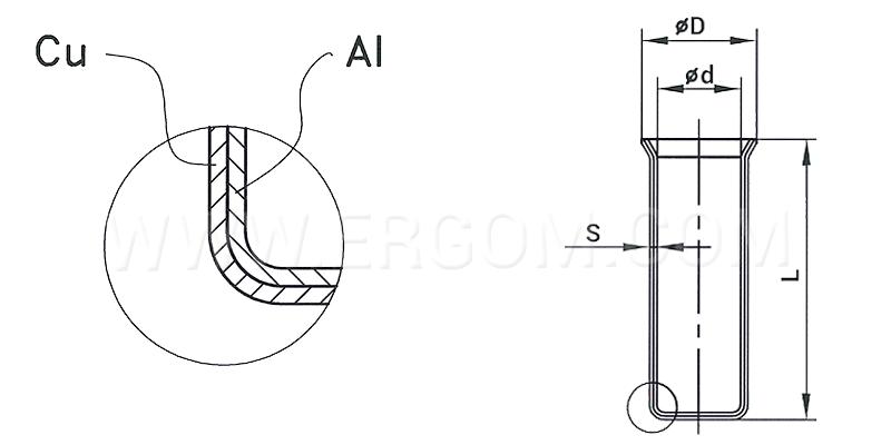 Końcówka kablowa HMA - wymiary