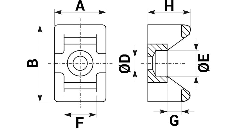 Elementy mocujące typu E3 - schemat