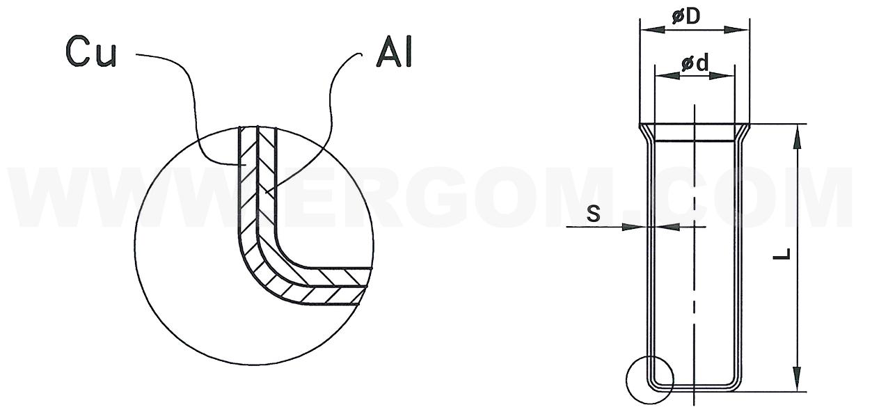 Końcówki kablowe tulejkowe miedziano-aluminiowe HMA_schemat