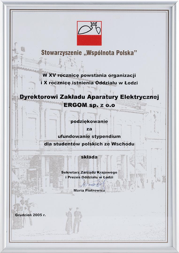 """Podziękowania od Stowarzyszenia """"Wspólnota Polska"""""""